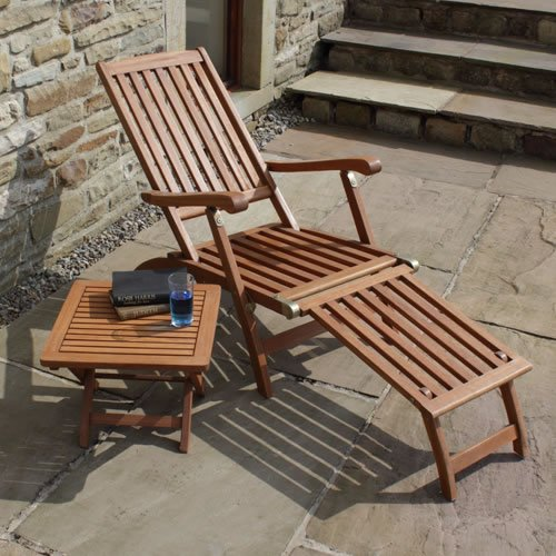 Ambleside Hardwood Garden Patio Steamer Lounger Chair with FREE Side Table  &  Weather Cover for Lounger
