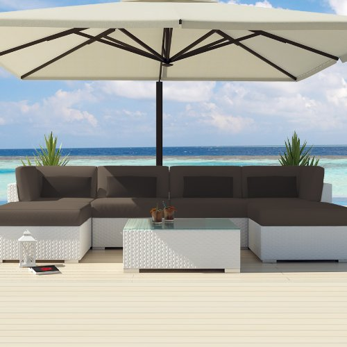 Uduka Outdoor Sectional Patio Furniture White Wicker Sofa Set Diani Dark Grey All Weather Couch