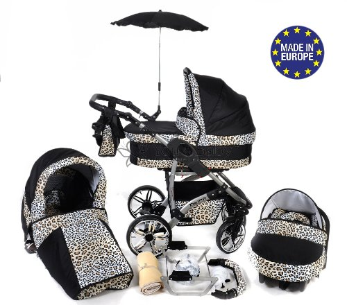 3-in-1 Travel System with Baby Pram, Car Seat, Pushchair & Accessories, Black & Leopard, Twing