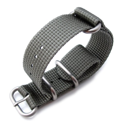Miltat 20Mm 3 Ring Zulu Military Watch Strap 3D Woven Thick Nylon - Jb Light Grey, Brushed Hardware