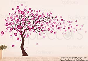 Custom Color PopDecors - Cherry Blossom Tree (83inch H) - removable vinyl art wall decals stickers decal sticker mural by Pop Decors Corp