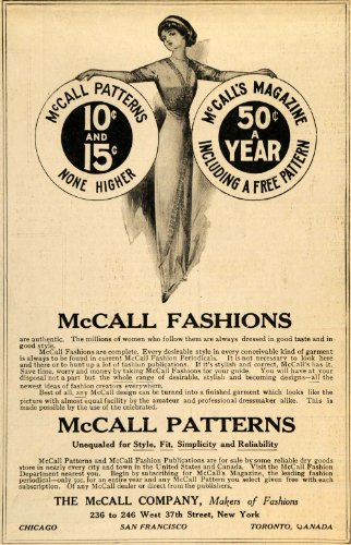 1911 Ad McCall Company Fashion Patterns Sewing Clothing - Original Print Ad