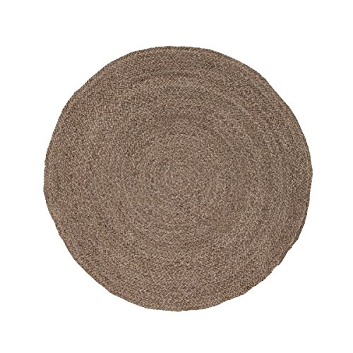 8' Russet Brown Round About Naturals Hand-Spun Solid Pattern Jute Round Area Throw Rug