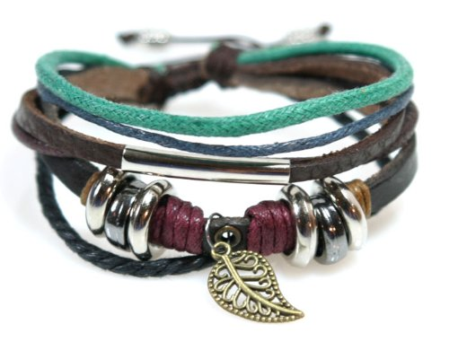 Leaf Design Leather Zen Bracelet - Adjustable, Fits 5.5 to 8 Inches, for Men, Women, Teens, Boys and Girls