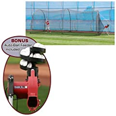 Buy Heater Complete Home Batting Cage with Heater Jr. Pitching Machine by Trend Sports