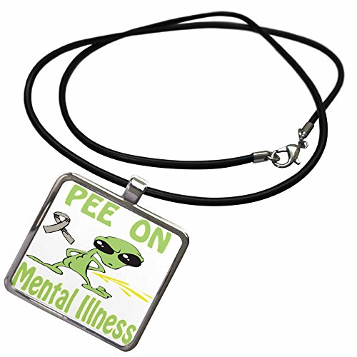 3dRose Blonde Designs Cause Awareness Designs Pee On Alien - Super Funny Peeing Alien Supporting Causes For Mental Illness - Necklace With Rectangle Pendant (ncl_120723_1) (Pictures Of Women Peeing compare prices)
