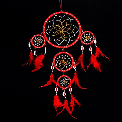 Handmade Dream Catcher Traditional Dreamcatcher Feather Wall Hanging Decoration, Red