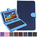 """HDE Diamond Stitch Hard Leather Folding Folio Case Cover with Micro USB Keyboard for 7"""" Tablet(Blue)"""