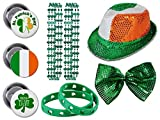 St. Patrick s Day party set. Includes Sequin Fedora Irish Hat, Glitz N Gleam Bow Tie, Shamrock Beads Necklaces, Buttons, Bracelets