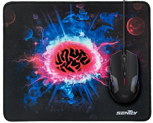 Mouse Pad Sentey® Psyched Surface 13.58In X 10.82In (Medium Size) Gs-2311 / 4Mm Thick / Support Wired Wireless Or Bluetooth Mouse And Gaming Mouse - Gaming Surface / Edge-Style Overlock / Non-Slip Eco Rubber Base / Medium Friction Level / 100 % Polyester