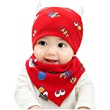 BabyPrice 100% Pure Cotton Cap Cotton Hat With Elk Ear And Triangle Drool Bid Set, Red,