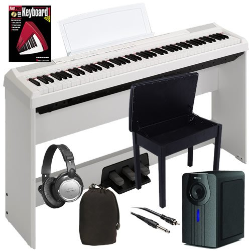 Yamaha P-105 Digital Piano (White) Complete Bundle+ W/ Subwoofer, Stand, Bench