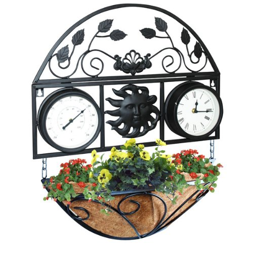 Garden Clock and Thermometre with Basket
