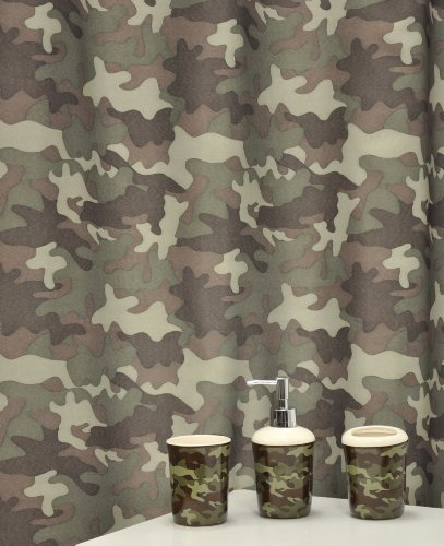 Famous Home Fashions Camouflage Bath Accessory Set, Khaki, 16-Piece