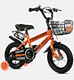 QvQ 補助輪付き 組み立て式 子供用自転車 幼児自転車 補助輪フラッシュ 2-10歳 男女 (オレンジ, 16インチ) [並行輸入品]