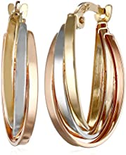 14k Tri-color Gold Overlap Hoop Earrings