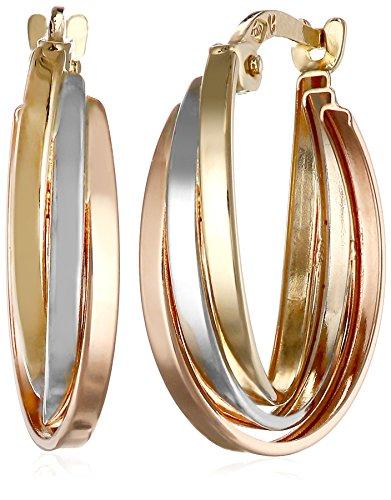 14k-Gold-Tri-Color-Triple-Hoop-Earrings