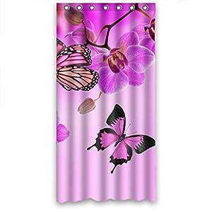 Clear Purple Butterfly Flower Waterproof Fabric Shower Curtain 36 W X72 H