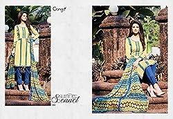 Ganga Fashions Light Golden Rod Yellow Printed Cotton Silk Fabric Salwar Suit GE-7001-Summer Sonnet