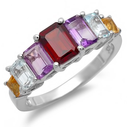 2.50 CT Sterling Silver Ladies Emerald Cut Multi Color Gemstone Engagement Ring