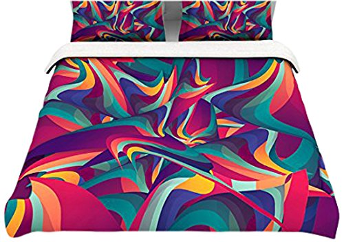 """Kess Inhouse Danny Ivan """"Wrong Past"""" Teal Purple 104 By 88-Inch Cotton Duvet Cover, King"""
