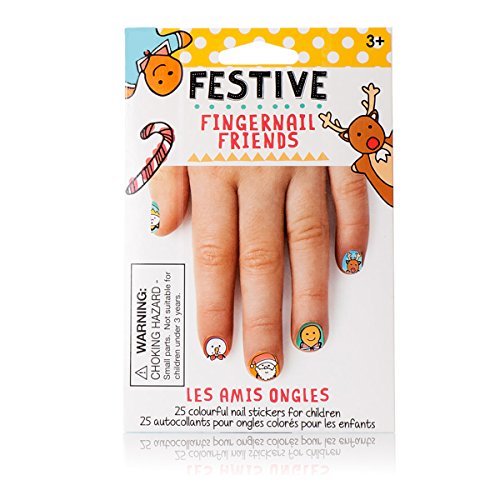Fingernail Friends Nail Stickers Nail Art for Children, Festive Holiday (50 Stickers)