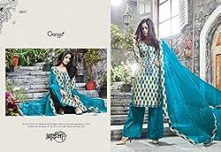 Gangafashions Cotton Fabric Peach Puff And Blue Designer Salwar Kameez [GE-6051-Aaina Vol - 2]