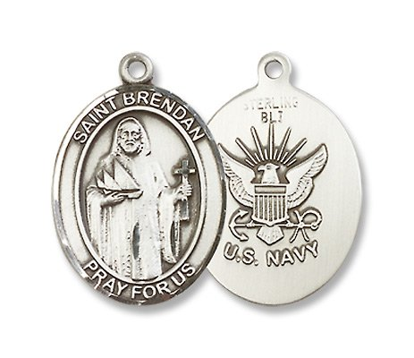 Sterling Silver St. Brendan Medal with Chain