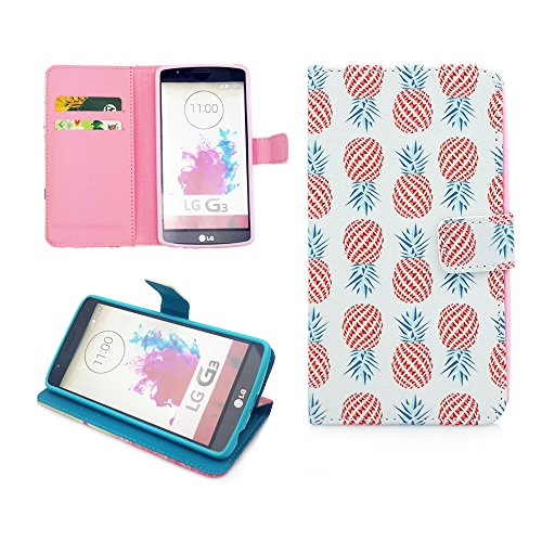LG G3 Case,Nancy's Shop Sparkle Pattern Premium Pu Leather Wallet [Stand Feature] Type Magnet Design Flip Protective Credit Card Holder Pouch Skin Case Cover for LG G3[NOT for LG G3 vigor/Vista] (Built-in Credit Card/id Card Slot)-(Happy Pineapple Nancy's