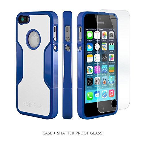 Iphone Se Case For Iphone 5s 5 Se Blue White Saharacase Protective Kit Bundled With Tempered