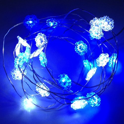 120 Led Blue And White Snowflake 46 Ft. Long String Lights - Bendable Copper Wire With Plug-In Ul Indoor Adapter