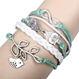 LOVE18 Retro Braided Owl Infinity Olive Branch Leather Rope Wrap Bracelet Bangle,Free Gift