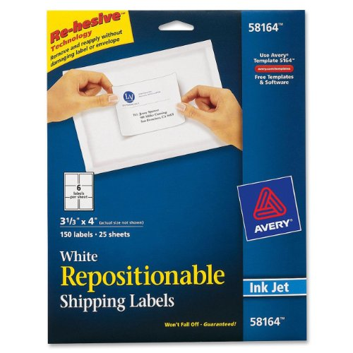 Avery Repositionable Shipping Labels For Inkjet Printers, 3.33 X 4 Inches, White, Box Of 150 (58164)