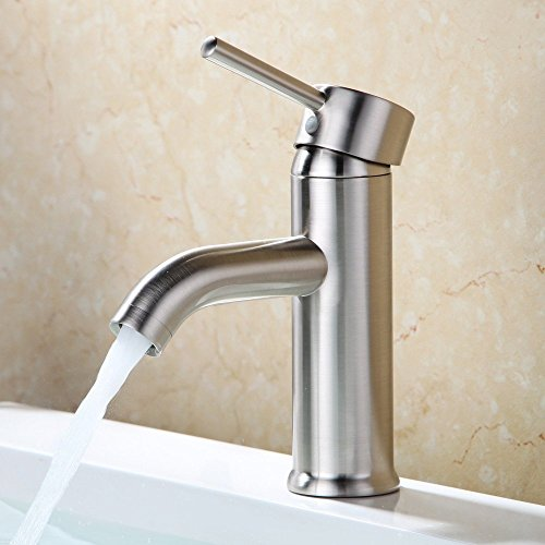 Beati Faucet Modern Curve Spout Single Handle Deck Mounted Bathroom Vessel Sink Faucet, Brushed Nickel (Brushed Nickel Faucet compare prices)