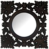 Onlineshoppee Wooden MDF Decorative Hand Carved Wall Mirror - B01FI3ZK5I