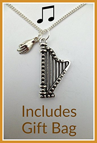 silver-necklace-music-instrument-playing-hand-charm-harp-pendant-free-uk-postage-