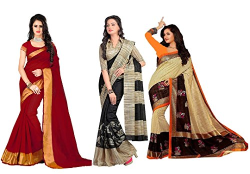Fashioniests Combo Pack Of 3 Beautiful Art Silk Sarees
