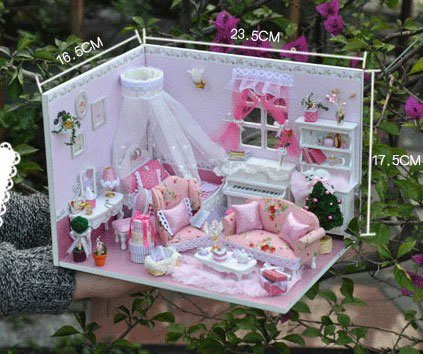 Big Dollhouse Miniature Diy Wood Frame Kit With Light Model Sweet Promise Gift Ldollhouse79-D77