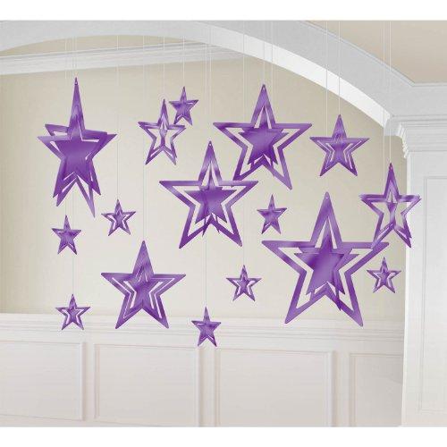 kit decoration 3d foil star purple