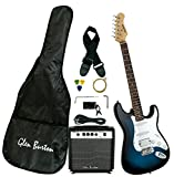Glen Burton GE101BCO-BLS Stratocaster-Style Electric Guitar Combo along with equipment and Amplifier, Blueburst