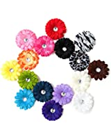 Ema Jane - 15 Cute Assorted Ema Jane Boutique Quality Small Gerber Daisy Hair Clip Bows (Headbands Not Included) - Infant, Baby, Toddlers, Youth, Young Girls (Headbands Not Included) - Hair Clip Attaches to a Headband or Beanie