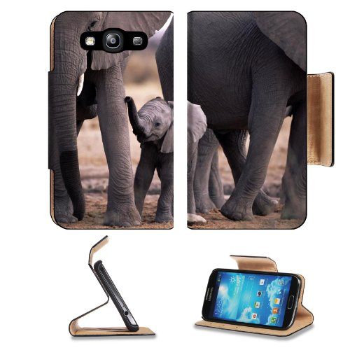 Animal Wildlife Elephant Baby Pack Tusk Africa Samsung Galaxy S3 I9300 Flip Cover Case With Card Holder Customized Made To Order Support Ready Premium Deluxe Pu Leather 5 Inch (132Mm) X 2 11/16 Inch (68Mm) X 9/16 Inch (14Mm) Luxlady S Iii S 3 Professional front-1013276