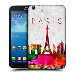 Head Case Designs Eiffel Tower Paris France Watercoloured Skyline Protective Snap-on Hard Back Case Cover for Samsung Galaxy Tab 3 8.0 T311 T315 T310