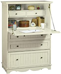 French Country Deluxe Secretary Desk, FIVE-DRAWER, ANTIQUE WHITE