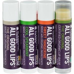 Elemental Herbs All Good Lip Balm Sampler Set SPF 12 - 4-Pack Organic Original/Original/Cool Spearmint/Sweet Tangerine, One Size