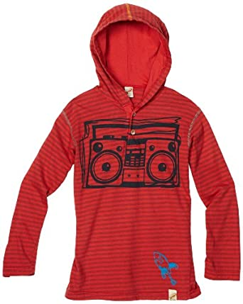 Charlie Rocket Boys 2-7 Stripe Pull Over Hoodie, Red, 2T