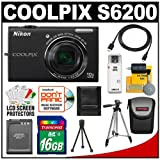 Nikon Coolpix S6200 Digital Camera (Black) with 16GB Card + Battery + Tripod + Case + HDMI Cable + Accessory Kit