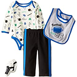 Baby Gear Baby-Boys Newborn 4 Piece Deluxe Set-Football, Royal, 6-9 Months