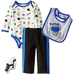 Baby Gear Baby-Boys Newborn 4 Piece Deluxe Set-Football, Royal, 6-9 Months
