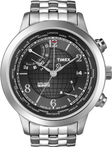 Timex Intelligent Quartz Men's World Time Watch with Black Dial Analogue Display and Silver Stainless Steel - T2N610